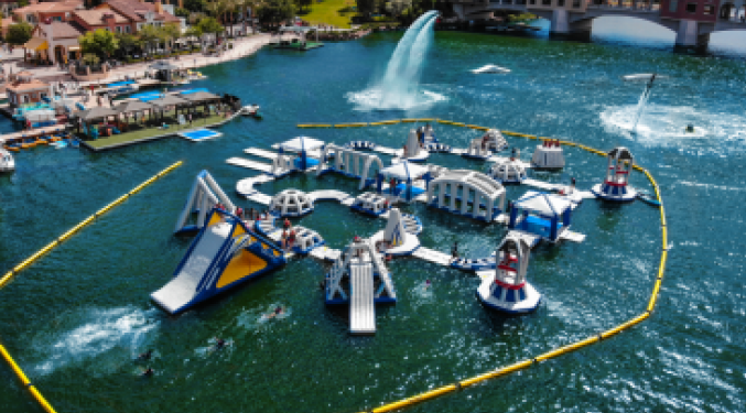 BOUNCE AND SPLASH ON A FLOATING PLAYGROUND