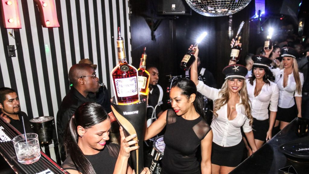 Bottle service at a nightclub
