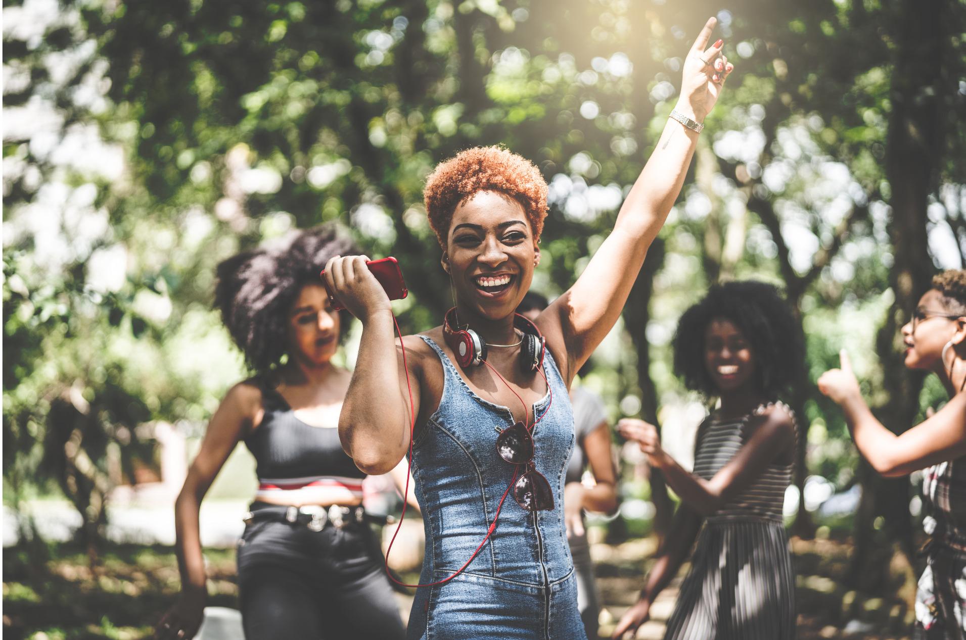 A group of girlfriends dance to popular TikTok songs