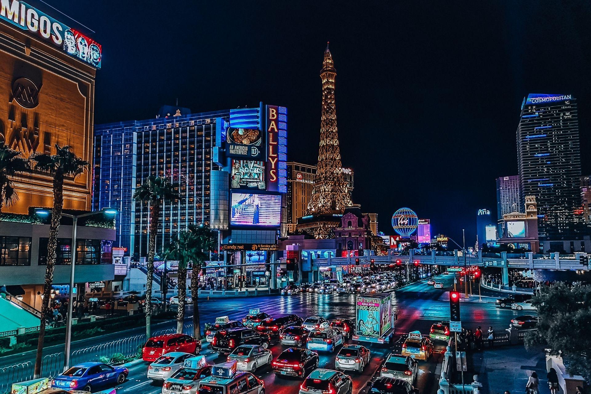 A city view of Las Vegas at night
